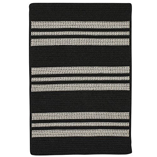 (Sunbrella Southport Stripe UH19SAMPLES Sample Swatch Rugs, 14 x 17, Black)