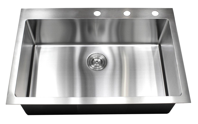 33 Inch Topmount / Drop In Stainless Steel Kitchen Sink Package - 16 ...