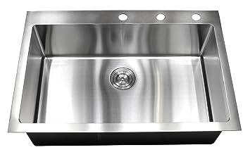 33 inch drop in topmount stainless steel kitchen sink package   16 gauge single bowl basin 33 inch drop in topmount stainless steel kitchen sink package   16      rh   amazon com