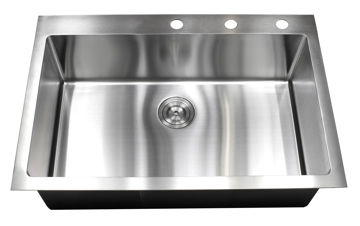 33 Inch Drop In Topmount Stainless Steel Kitchen Sink Package - 16 Gauge Single Bowl Basin w/ 9 Gauge Deck, 33'' x 22'', with 2 Cover Plates