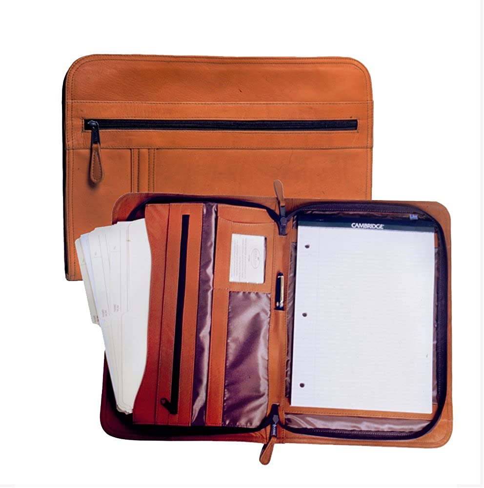 Deluxe Zippered Portfolio Natural Multiple Compartments Genuine 100 Percent Luxury Leather