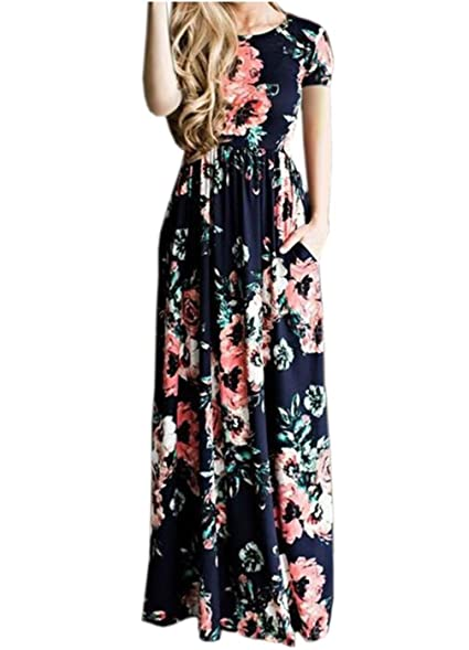 Summer Maxi Dress Long Dress Floral Vestido Longo Boho Bohemian Women Dress Chic Beach Tunic Dress