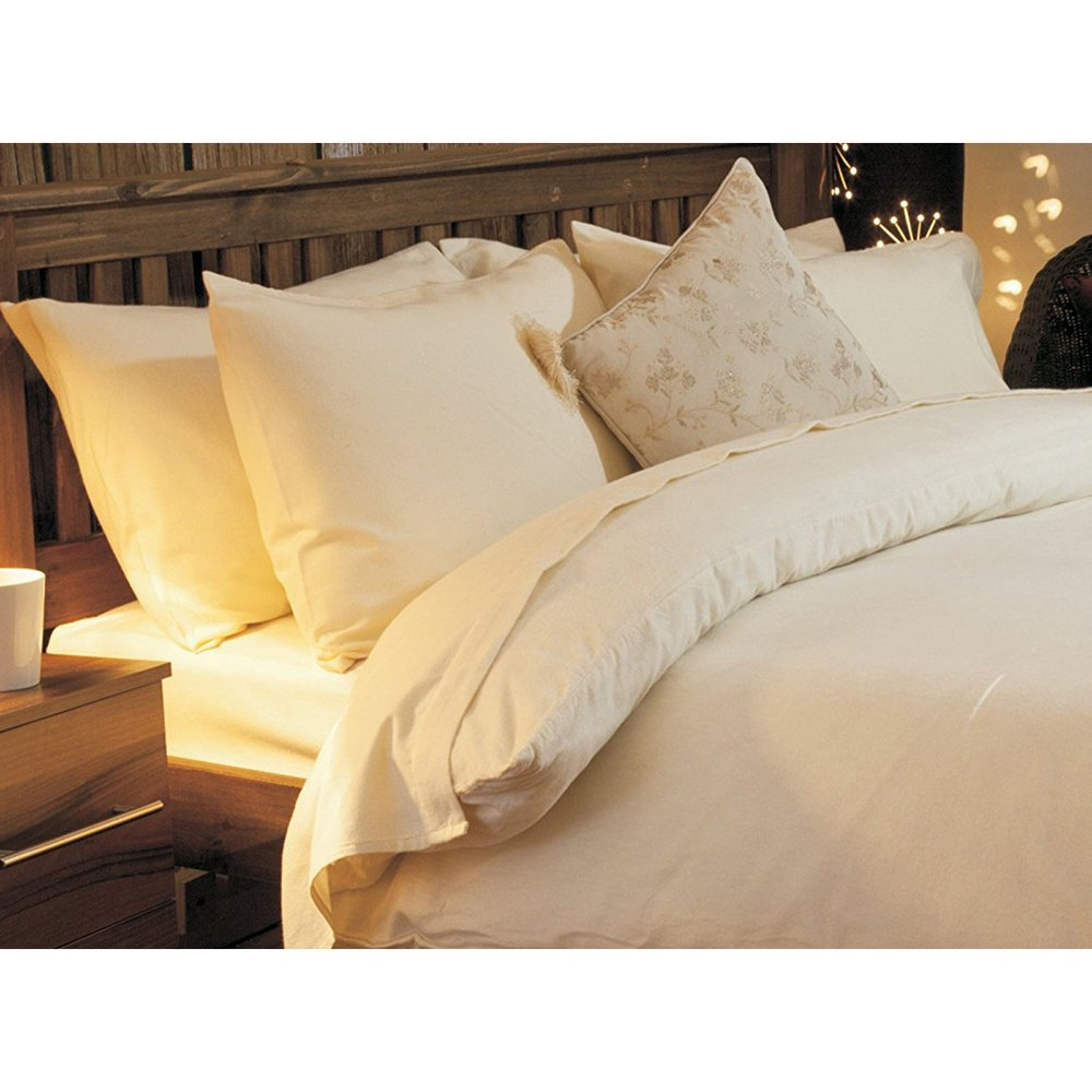 High Quality Brushed Cotton Single Bed Size Flat Sheet in Cream Belledorm