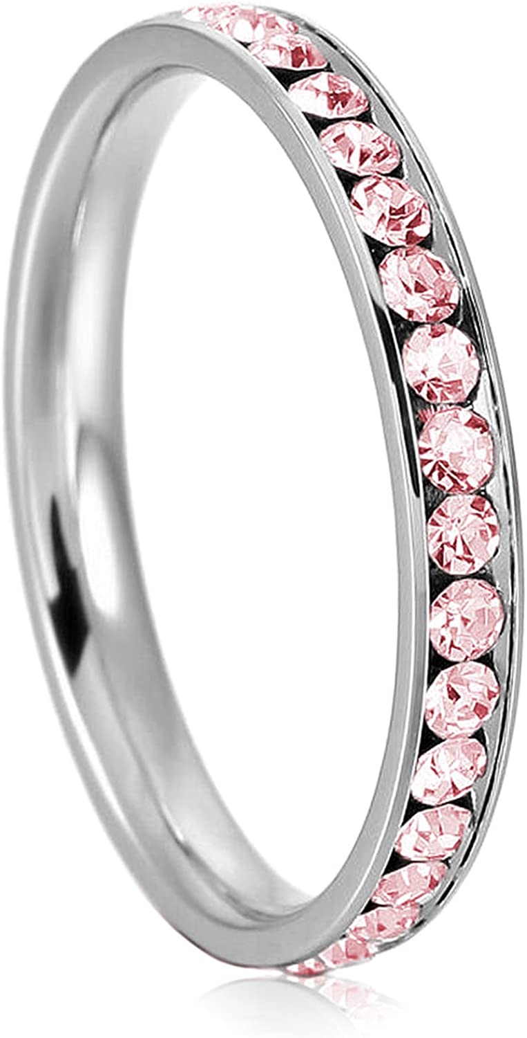 Stainless Steel Eternity Ring Polished Pink Crystal 9mm Eternity Ring