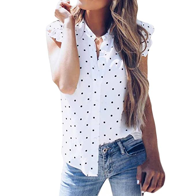 Fossen Verano Mujer Blusas sin Manga Volantes Lunar Camisetas Oferta Gasa Camisa de Mujer Elegantes de