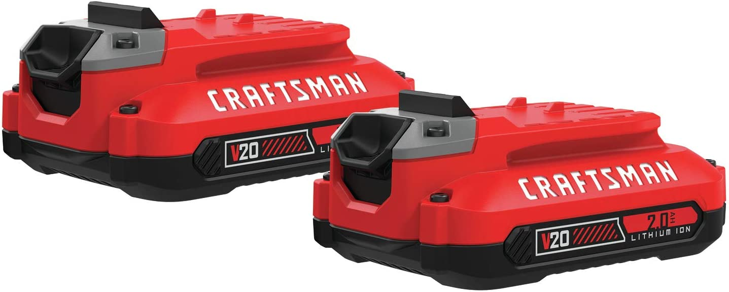 CRAFTSMAN V20 Lithium Ion Battery, 2.0-Amp Hour, 2 Pack (CMCB202-2)