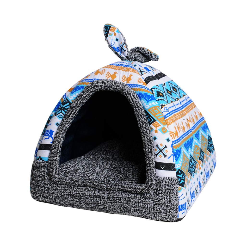 D L D L Cat Bed Tent House, 2-in 1 Pet Bed House Self- Warming Dog Cat Kitten Triangle Puppy Cave Basket with Removable Cushion (color   D, Size   L)