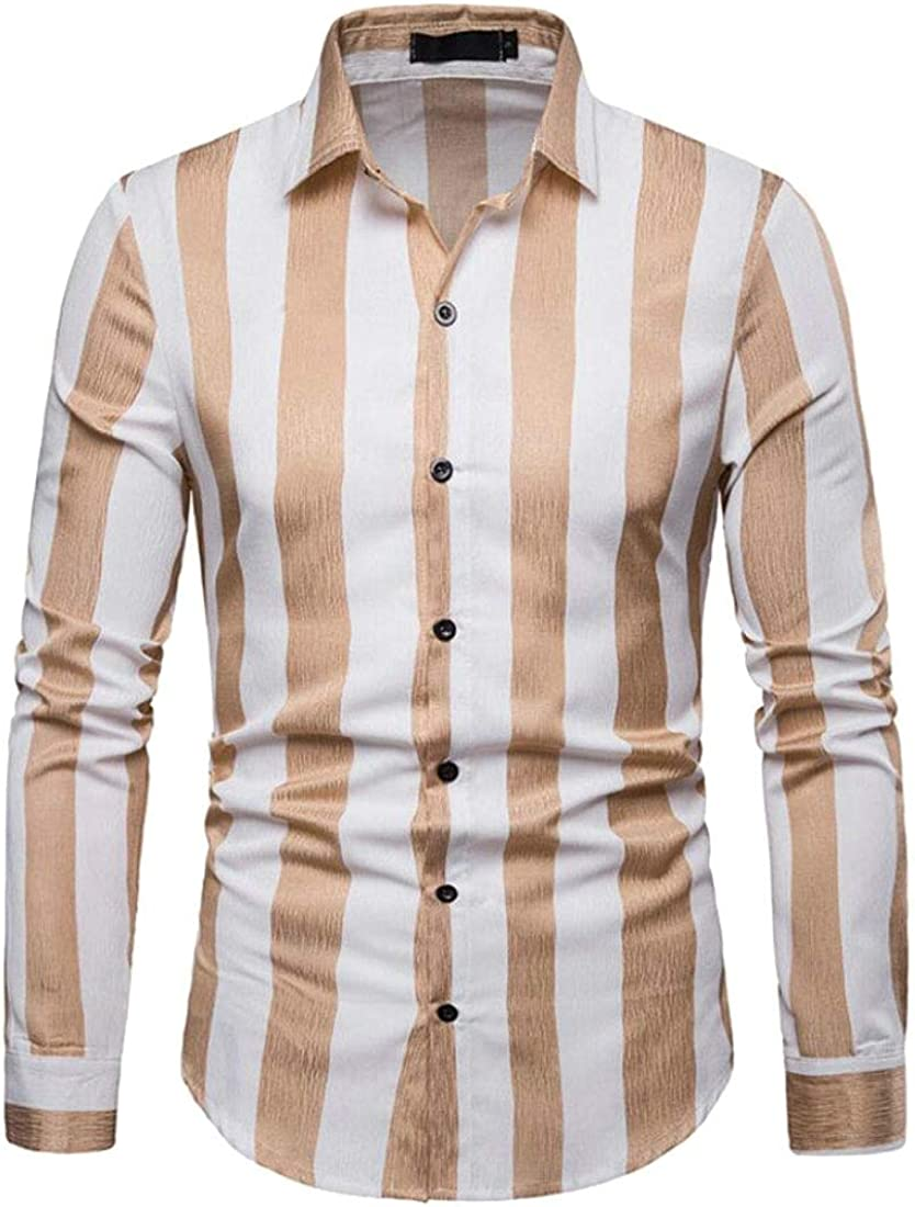Alion Men Button Down Shirt Long Sleeve Slim Fit Vertical Striped Shirt
