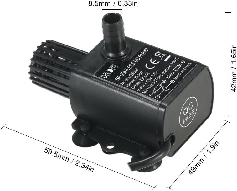 Impermeable Decdeal USB DC5V 2.4W 250L//H Elevaci/ón 200cm Mini Bomba de Agua Ultrasilencioso Sumergible para Circulaci/ón de Fuente Acuario Sin Cepillo