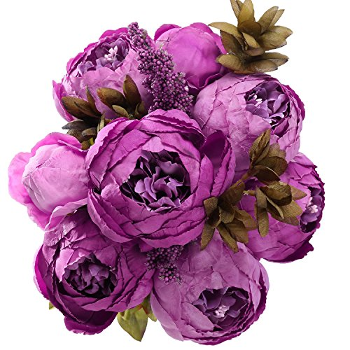 StarLifey Advanced Customization Vintage Peony Faux Flowers Decor Natural-looking Simulation Flowers European Style Floral Bouquet Ornaments (Purple)