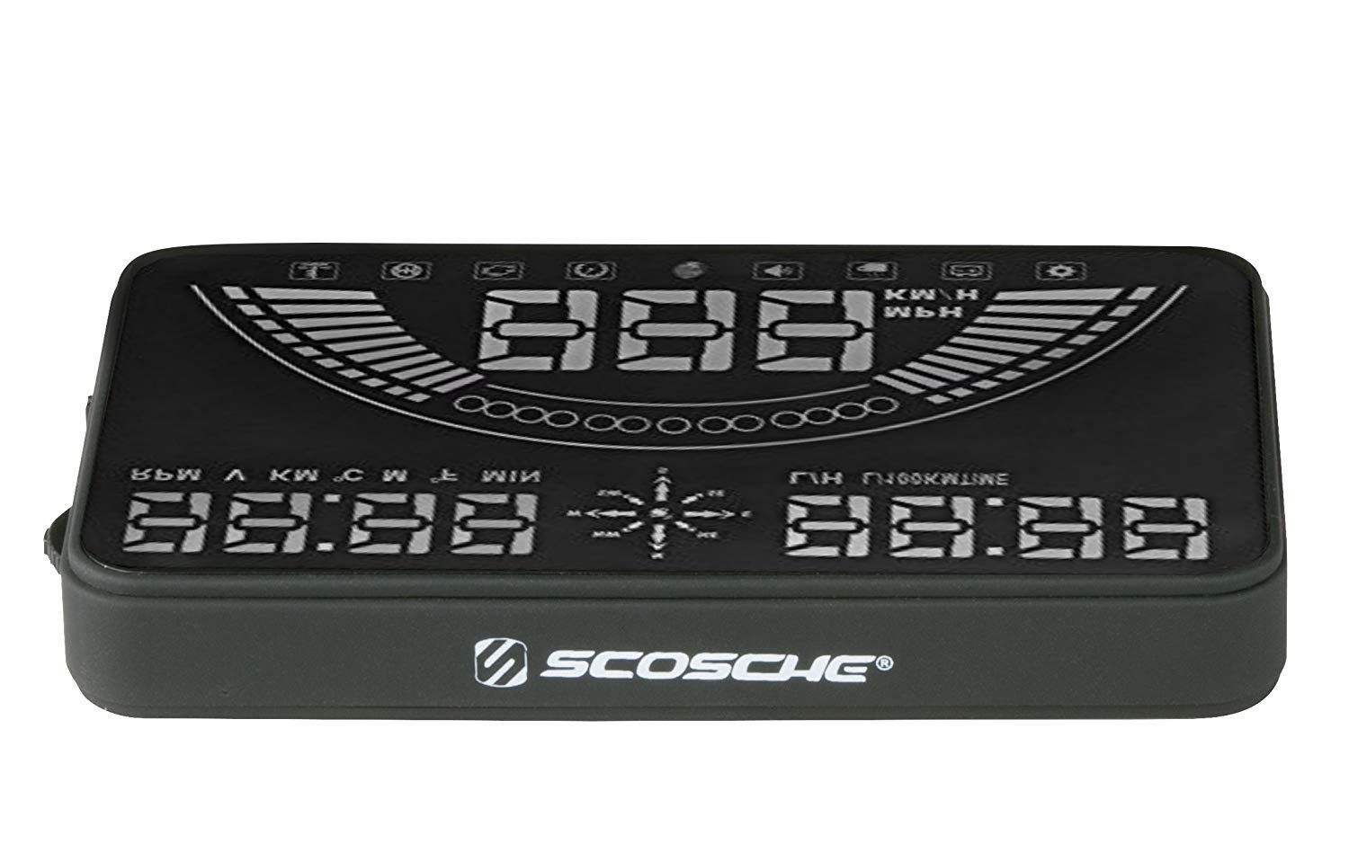 """Scosche HUD58OGC 5.8"""" Heads-up Multi-Color LED Display for Any Vehicle with an OBD-II or 12V Power Socket"""