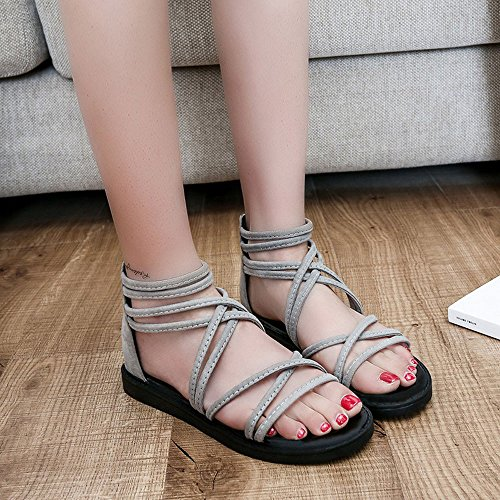 SKY Comfortable to wear it !!! Sandalias planas bohemias con correas Sra Bandage Bohemia Leisure Lady Sandals Peep-Toe Outdoor Shoes Gris