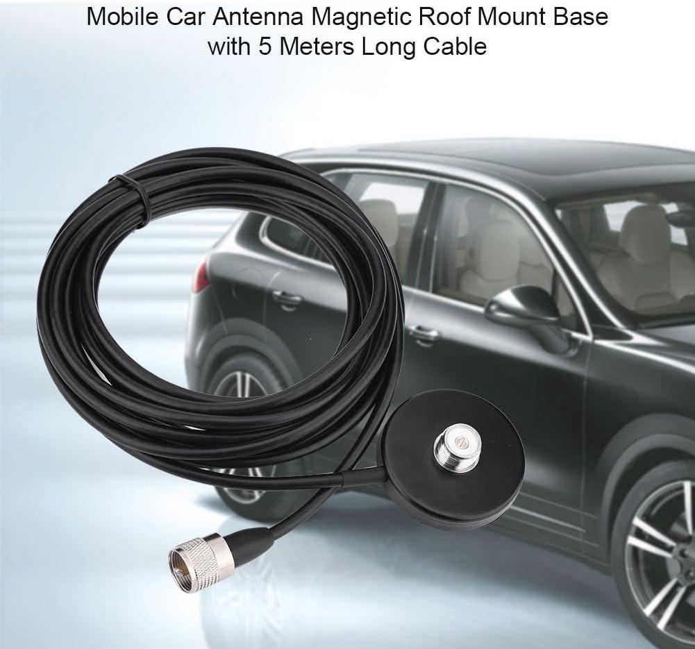 Bewinner Base Magnetica con Cavo Mobile Car Antenna Magnetic Roof Mount Base con 5 Metri Cavo Coassiale Lungo UHF Maschio