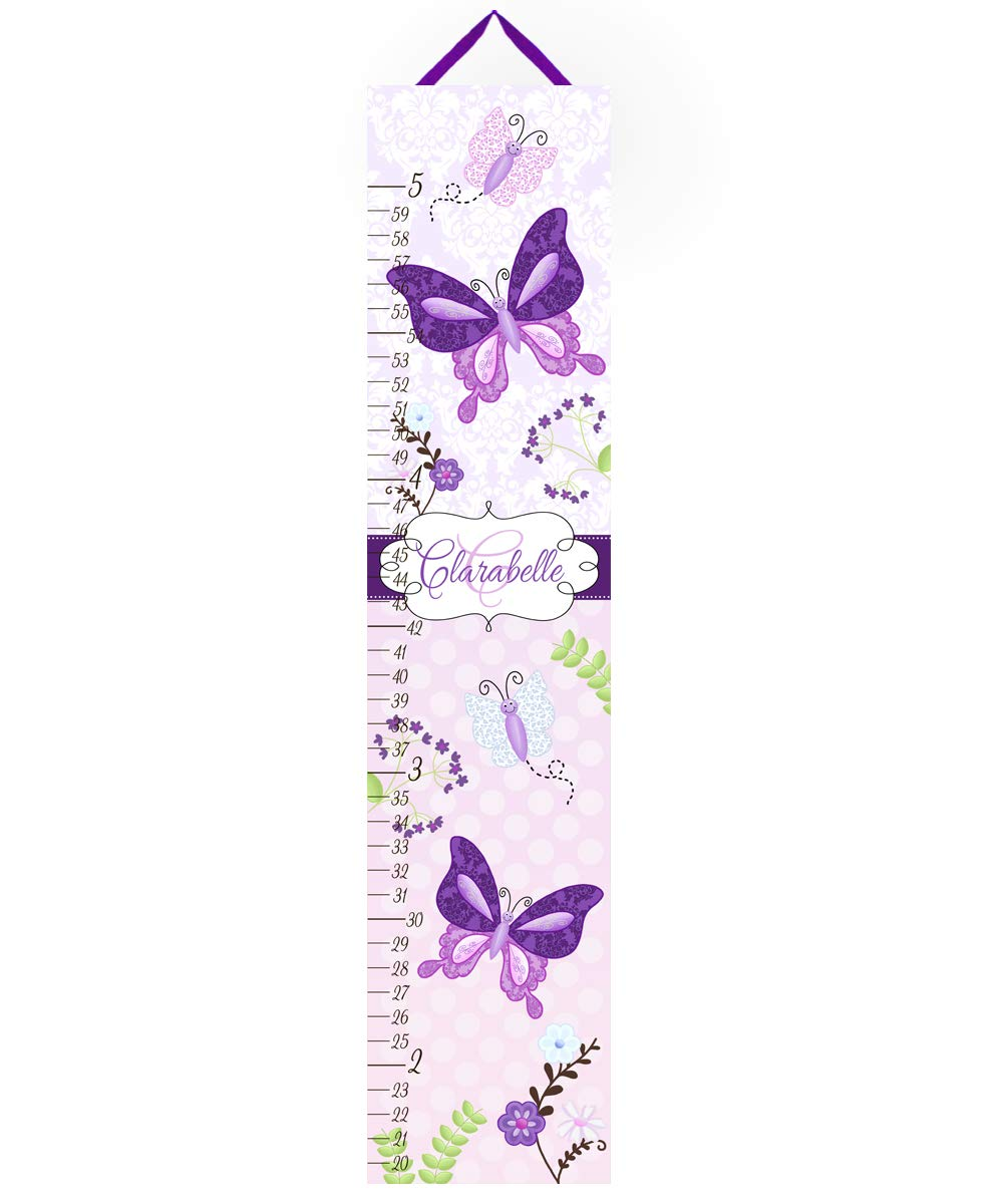 Toad and Lily Canvas GROWTH CHART Pretty Purple Butterfly Garden Girls Bedroom Baby Nursery Bedroom Wall Art GC0016 by Toad and Lily
