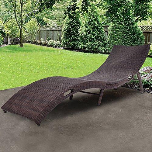 TANGKULA Folding Patio Rattan Chaise Lounge Chair Pool Outdoor Furniture (1)