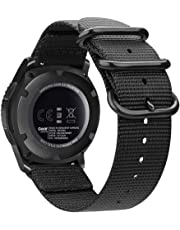 Bands for Galaxy Watch 46mm / Gear S3, Fintie Soft Woven Nylon 22mm Band Adjustable Replacement Sport Strap with Metal Buckle for Samsung Galaxy Watch 46mm / Gear S3 Classic Frontier, Black
