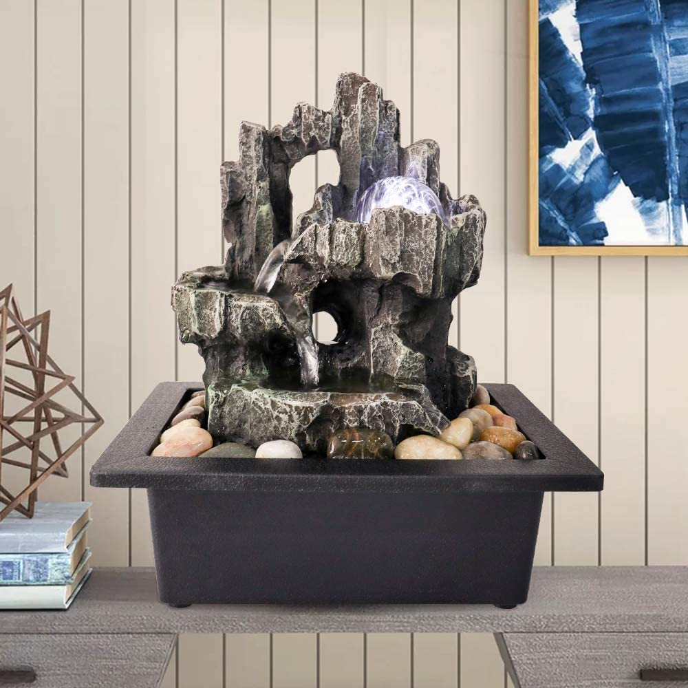 """PeterIvan 3-Tiered Woodland Tabletop Fountain - 11 2/5"""" H 3 Stream Cascading Cavern Tree Trunk Relaxation Waterfall Feature, Indoor Desktop Waterfall Fountain with LED Light&Rolling Ball"""