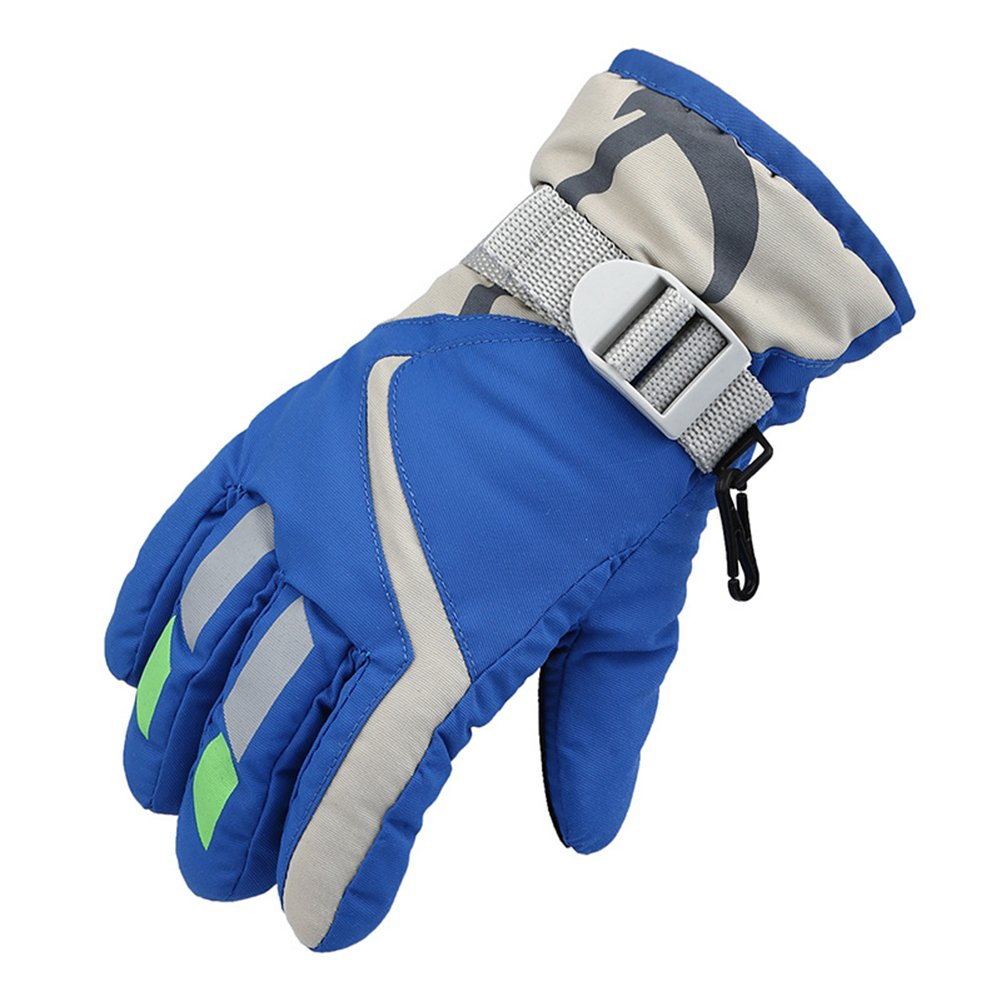 Kids Unisex Winter Warm Waterproof Gloves with Adjustable Straps for Skiing (Blue)