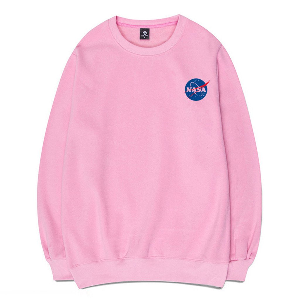 1_pink Coli&Tori Fashion NASA Logo Print Hoodie Sweatshirt with Kangaroo Pocket(Smaller Than Standard Size)