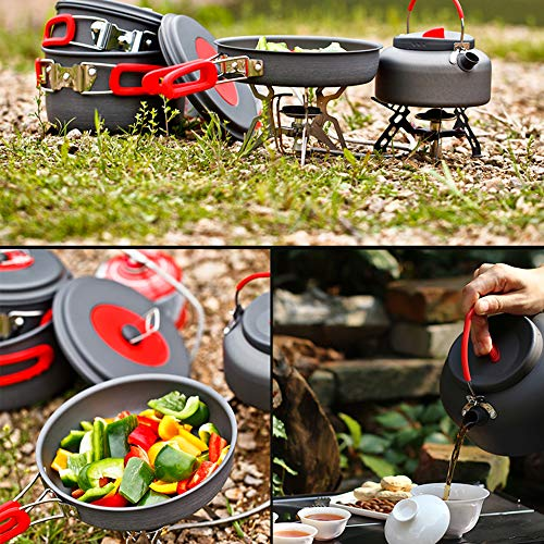 Camping Cookware Set Anodized Aluminum Camping Pots kettle and Pans Non-stick and Scratch-free for 3-4 Persons Family Outdoor Camping Hiking Fishing BPA-FREE Lightweight Durable Folding Mess Kit