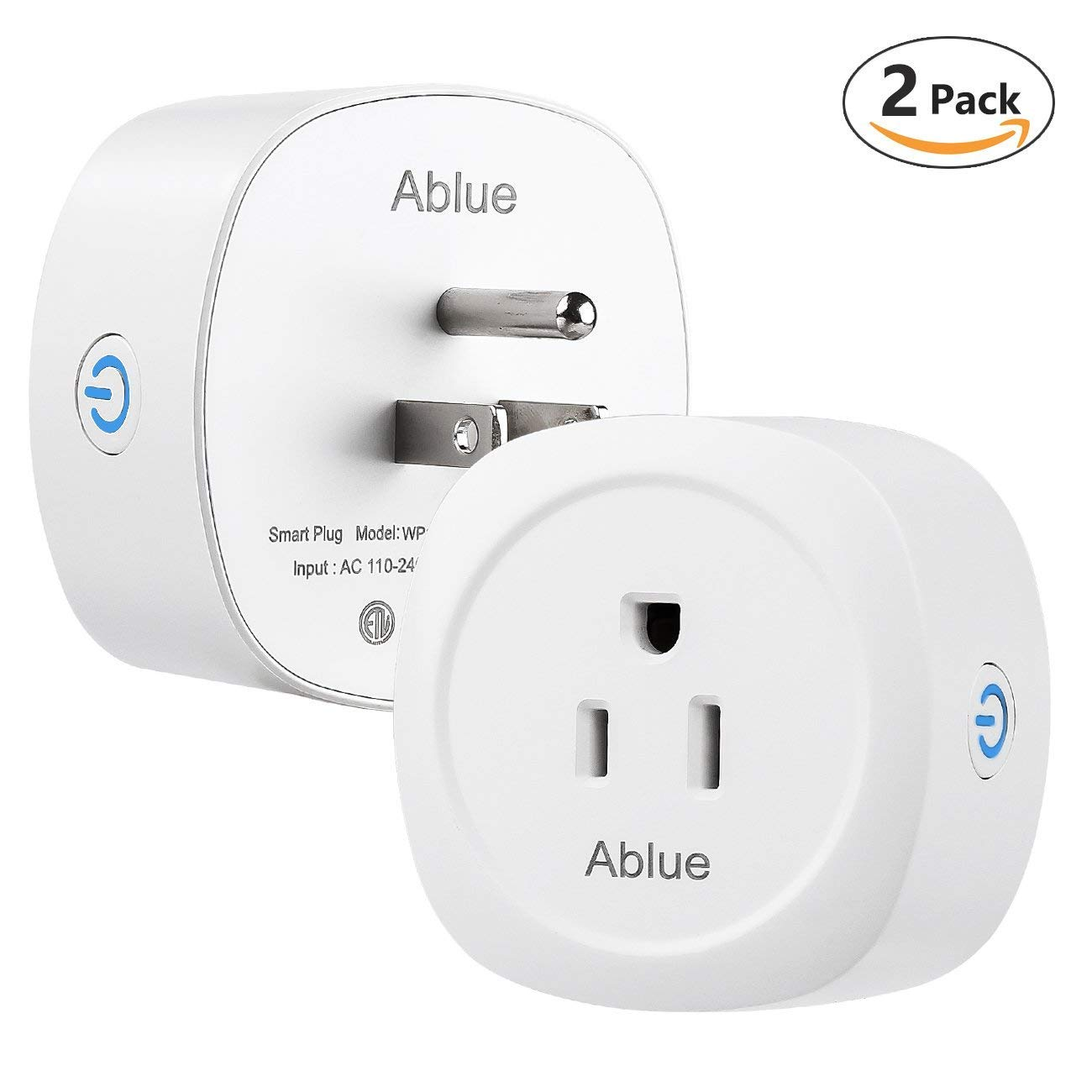 Smart Plug, Ablue Mini Socket Outlet, No Hub Required, Timing Function, Energy Monitoring, Compatible with Alexa, Control Lights and Appliances from Your Phone[ETL Certificated](2 Pack)