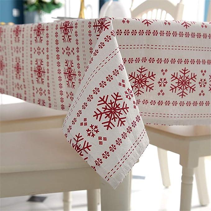NQING Paño De Mesa Mesa De Centro Navidad Poliéster Algodón Rojo ...