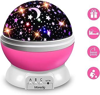 Moredig Lampara Proyector Infantil, 360° Rotación y 8 Modos ...