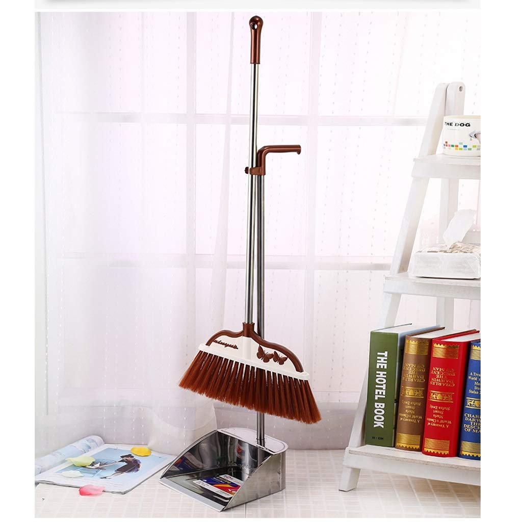 Lsxlsd Home Stainless Steel Soft Hair Broom Combination- 32''/31'' Long Handle,Broom Garbage Bucket Combination And Dust Pan Standing Upright Grips Sweep Set For Home, Office, Silver