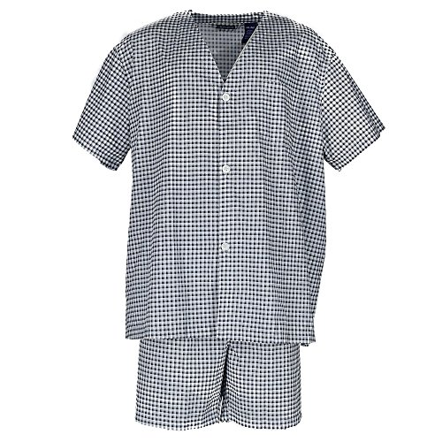 Fruit of the Loom Men's Plaid Broadcloth Short Sleeve Pajama, Navy Check ()