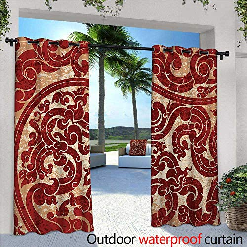 Cottage Prints Wallpaper - Antique Indoor/Outdoor Single Panel Print Window Curtain Thai Culture Vector Abstract Background Flower Pattern Wallpaper Design Artwork Print Silver Grommet Top Drape W108 x L108 Ruby