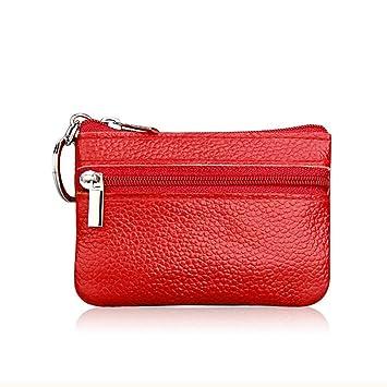 Doitsa - Monedero multifuncional con cremallera, mini bolso para monedas, bolsa de piel sintética para mujer, 1 unidad, Piel sintética, rojo, 10X7cm