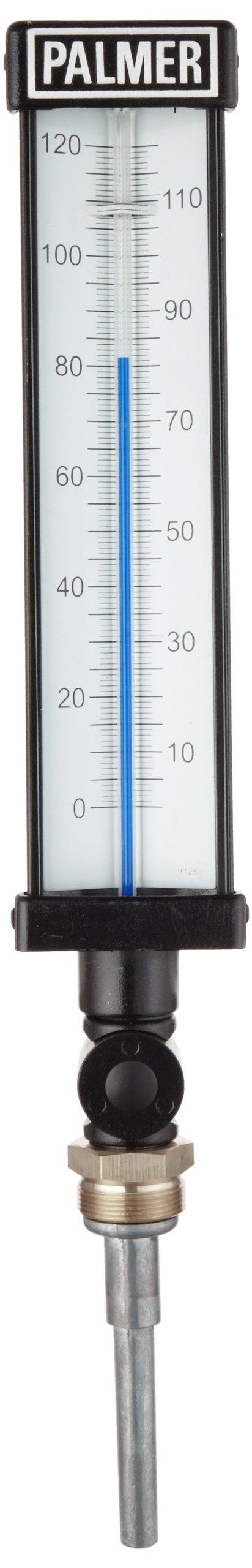 Palmer 9ALSB3.50/120F Aluminum Economy Industrial Thermometer, Spirit Fill, 3.5'' Stem, 9'' Scale Case, 0-120 Degrees F Temperature Range