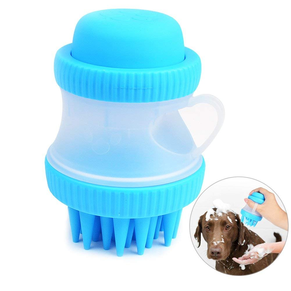 HooGoal Dog Cat Bathing Brushes, Pet Grooming Hand Brush with Container for Shampoo and Wash, Massage Silicone Brush, Blue