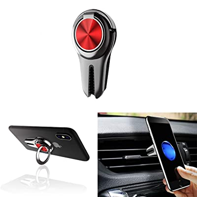 Alllink Mobile Phone Holder Smartphone Mount 3 in 1 Car Vent Phone Ring Holder Phone Stand Phone Grip Phone Kickstand Compatible with All Smartphone Tablet(Red)
