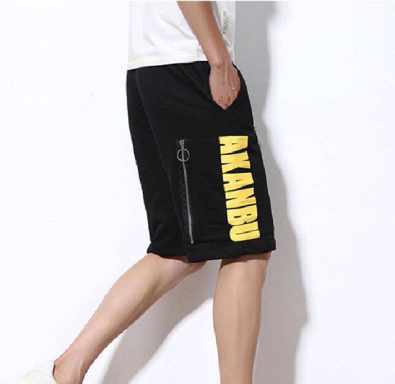 Zimaes-Men Zip Straight-Fit Fine Cotton Elastic Waist Midi Shorts Black XL by Zimaes-Men (Image #3)