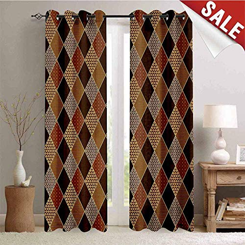 - Hengshu Brown Room Darkening Wide Curtains Lozenge Pattern in Patchwork Style Classical Old Fashioned Floral Decor Curtains by W72 x L96 Inch Brown Pale Brown Cinnamon