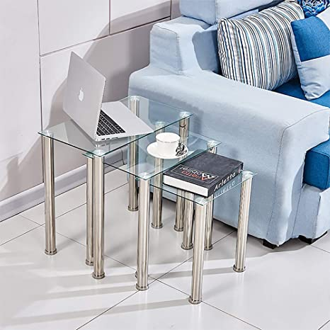Huiseneu - Juego de 3 mesas Nido de Cristal para sofá, Mesa de café para Sala de Estar, Mesa Auxiliar, Muebles para el hogar