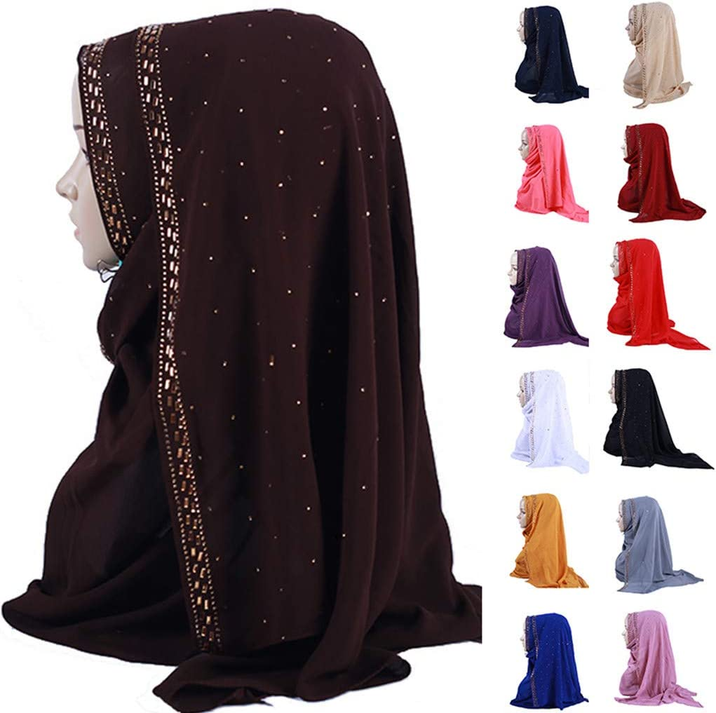 Muslim Solid Color Pearl Chiffon Scarf Hijab YunZyun Shimmer Sparkle Gold Glitters Plain Chiffon Muslim Hijab Scarf Shawl Head Wrap