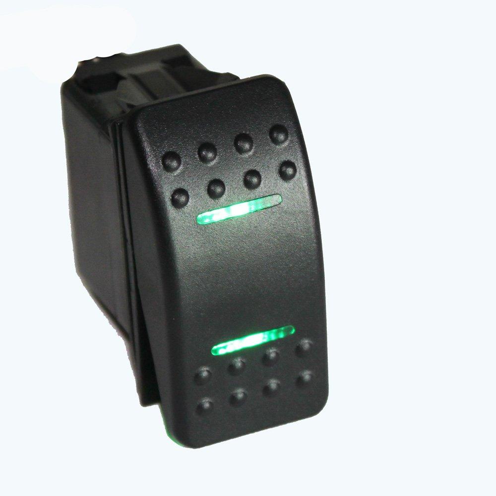 X-Haibei Waterproof MARINE BOAT CAR Rocker Switch 12V SPDT ON-OFF-ON 4 PIN Green LED Light BT0216