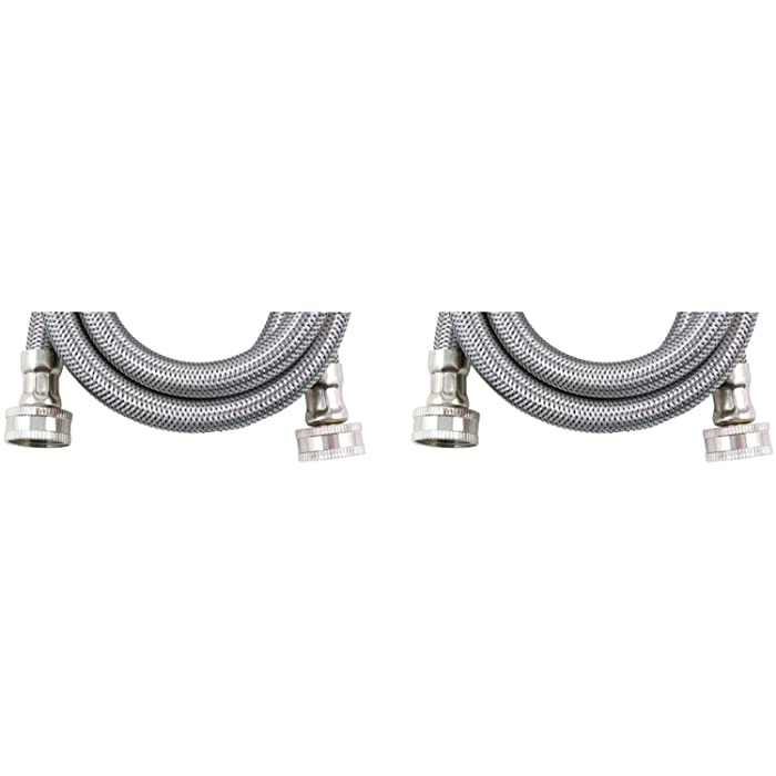 Certified Appliance Accessories 2 pk Braided Stainless Steel Washing Machine Hoses, 6ft