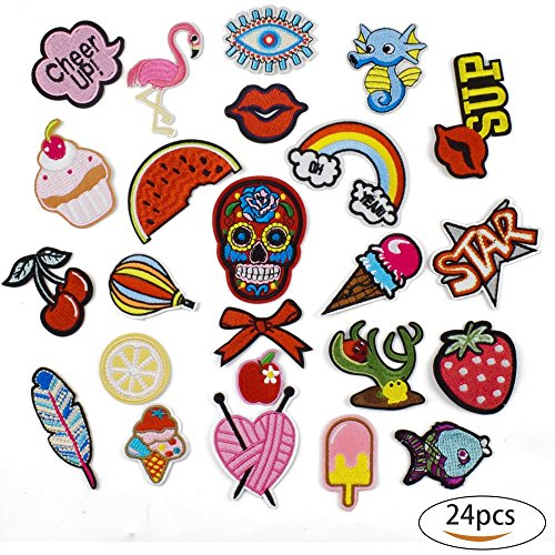 Best Prices! Iron On Patches for Jackets - OKEER 24 Pcs Assorted Size Fashion Patches Decoration Acc...