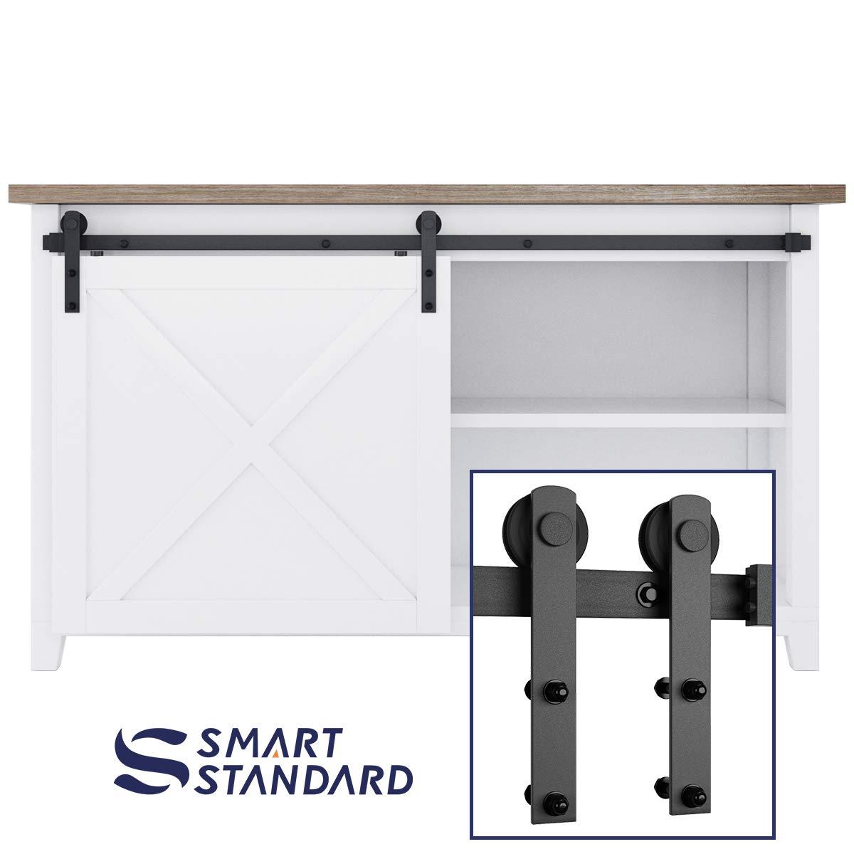 SMARTSTANDARD 5FT Mini Sliding Barn Door Cabinet Hardware Kit for Cabinet TV Stand Closet, Black, One-Piece Track Rail, Easy to Install, Fit 30'' Wide Single DoorPanel , I Shape Hanger (NO Cabinet)