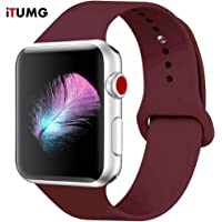 Threenine for Watch Band 38mm/40mm 42mm/44mm, Soft Silicone Watch Strap Replacement Sport Band Compatible with Watch Band Series 5/4/3/2/1 (Wine red, 40mm/38mm-SM)