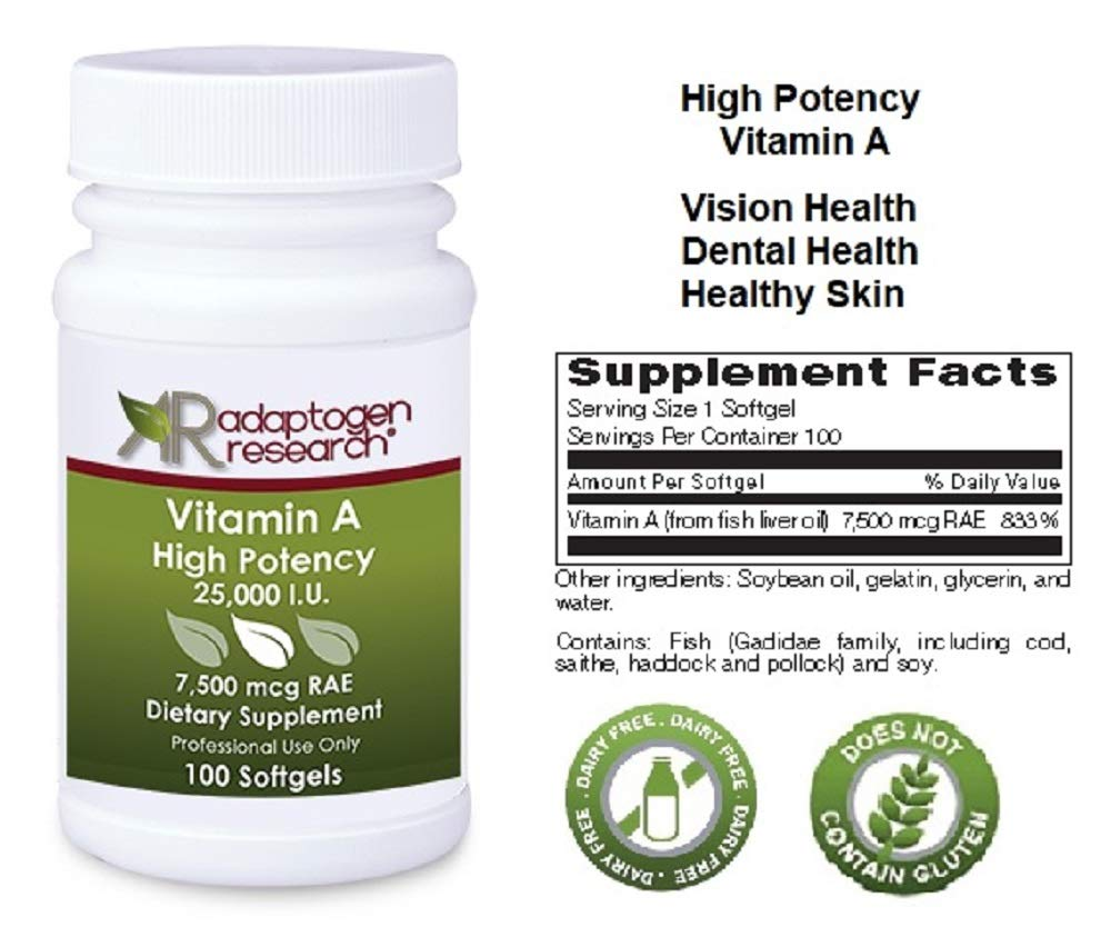 Vitamin A High Potency | 25,000 IU Per Softgel I Pure Vitamin A I Supports Vision, Growth, Reproductive Function, Immunity, Skin and Mucous Membranes* | 100 Softgels | Adaptogen Research