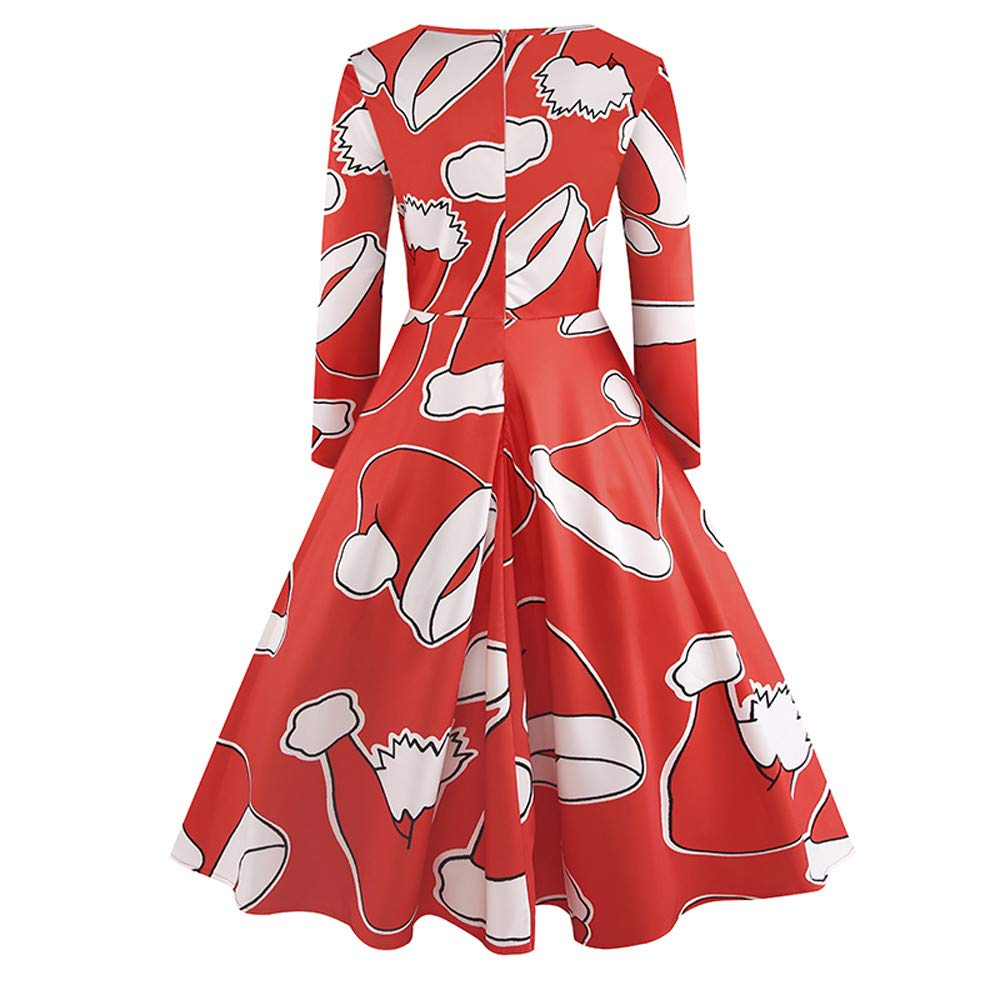 8cd994a9b1c5b Amazon.com: 2018 Christmas Women's Holiday Vintage Black Evening Prom  Costume Swing Dress,Girls Santa Claus Printed Gifts Xmas Dress: Clothing