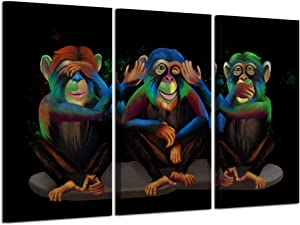 Kreative Arts 3 Panel Animals Canvas Print Wall Art See Hear Speak No Evil Monkeys Wall Art Modern Gorilla Poster and Prints Walls Painting Decorative Art Work for Home Office Decor Gifts 16x32inchx3