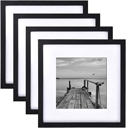 Amazon Com Framics 4 Pack 12x12 Picture Frames Display 8x8 Photo With Picture Mat Black Picture Frames Made Of Solid Wood For Wall Mounting Or Table Top Mounting Hardware Included