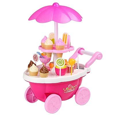 Arshiner 24 Pcs Pretend Play Music Lighting Ice Cream Trolley Set Toy for Little Girls