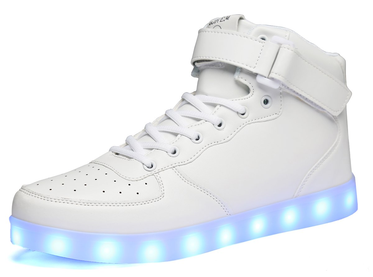 ca68b692d5 Galleon - MOHEM ShinyNight High Top LED Shoes Light Up USB Charging  Flashing Sneakers(1687003White35)