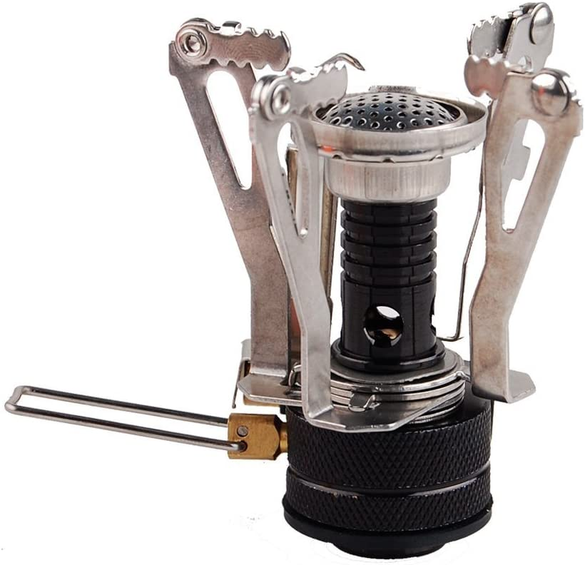 Orange Outdoor Stoves Camping Stove Backpacking Stove with Piezo Lgnition Ultra Light mini Picnic Stove for Outdoor Camping Hiking Cooking